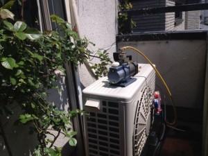 エアコン取付工事 名古屋市北区 施工中